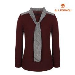 [올포유]여성 체크 타이 긴팔 티셔츠 AWTRH7154-415_G