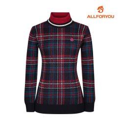 [올포유]여성 체크 패턴 하이넥 스웨터 AWSHI8201-915_G