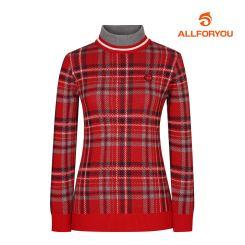 [올포유]여성 체크 패턴 하이넥 스웨터 AWSHI8201-500_G