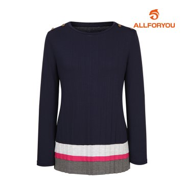 [올포유]여성 단추 장식 배색 티셔츠 AWTRH5153-915_G
