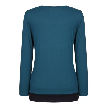 [올포유]여성 단추 장식 배색 티셔츠 AWTRH5153-804_G