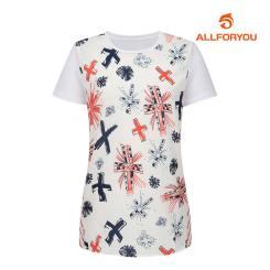 [올포유]여성 매쉬 패치 반팔 티셔츠 AWTRH6159-100_G