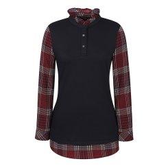 [올포유]여성 체크 넥프릴 티셔츠 AWTRI7162-915_G