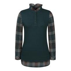 [올포유]여성 체크 넥프릴 티셔츠 AWTRI7162-804_G