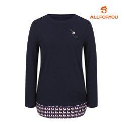 [올포유]여성 우븐패치 라운드 티셔츠 AWTRI7157-915_G