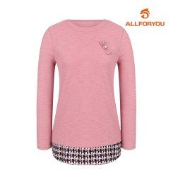 [올포유]여성 우븐패치 라운드 티셔츠 AWTRI7157-403_G