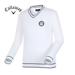 남성 배색 포인트 브이넥 스웨터 CMSRG1201-100_G