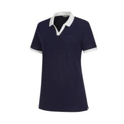 [라푸마][19SS] 네이비 멜란지 린넨 MIX 카라 티셔츠 LFTS9B335N2