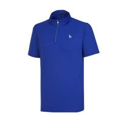 [헤지스골프][19SS] 블루 솔리드 반집업 반팔 티셔츠 HUTS9B311B2