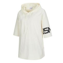 [JILLSTUART NEWYORK SPORT] 질스튜어트뉴욕스포츠 [NYC SWAN 19SS] 오프화이트 여성 우븐 하이브리드 소매 그래픽 후드 티셔츠 JFTS9B460OW