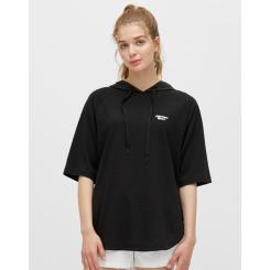 [JILLSTUART NEWYORK SPORT] 질스튜어트뉴욕스포츠 [Sunny Swan 19SS] 블랙 여성 우븐 하이브리드 COOL-TOUCH 후드 티셔츠 JFTS9B461BK