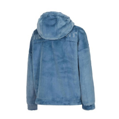 [JILLSTUART NEWYORK SPORT] 질스튜어트뉴욕스포츠 [Eco Fur Cute teddy] 블루 후드 여성 반집업티셔츠 JFTS9D852B5