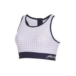 [질스튜어트뉴욕스포츠] [Chic Gymkini TOP] 바이올렛 체크패턴 여성 그래픽 짐키니 수영복 상의 JFSR9B435V1