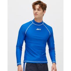 [질스튜어트뉴욕스포츠] [Long Beach High-neck Rashguard] 블루 남성 솔리드 레터링 하이넥 래쉬가드 JMSR9B413B2