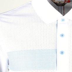 발렌키 패턴 배색 메쉬 반팔 카라셔츠 RM20M413